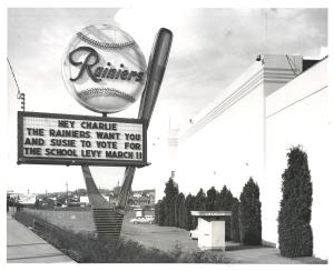 Sicks Stadium sign, Rainier Ave, 1958