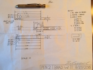 Brad's to scale schematic drawing with completed pen.